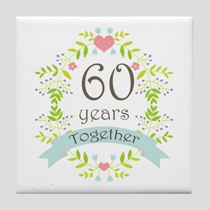 60th Anniversary flowers and hearts Tile Coaster
